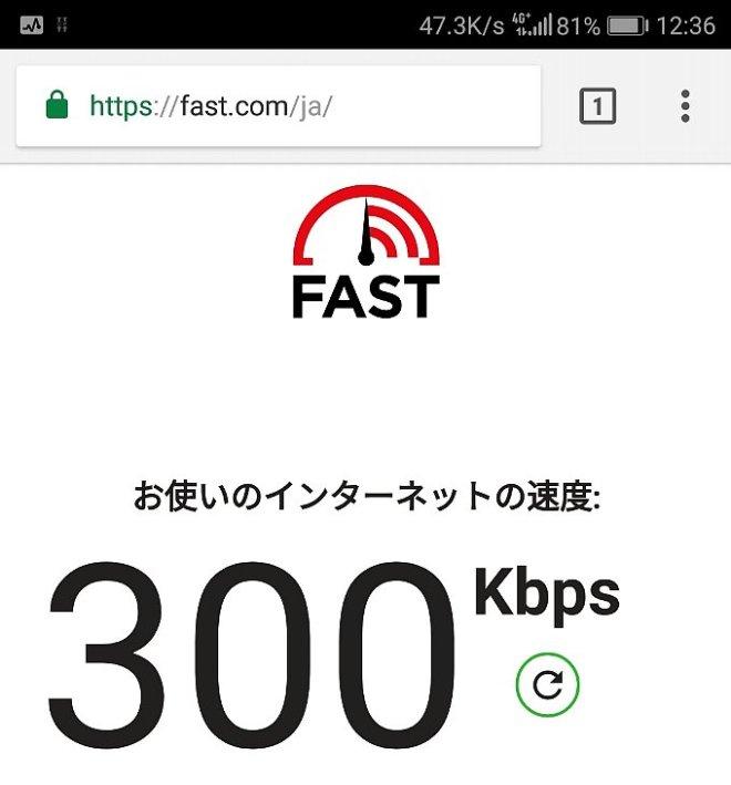 fafast.comでのOCNモバイルONEの速度