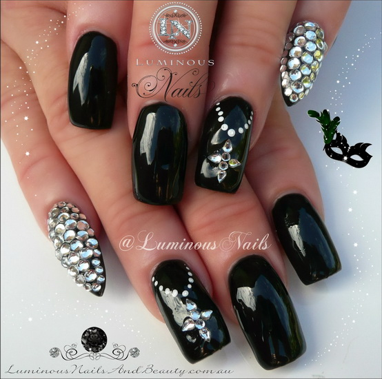 Abstract Black And Clear Nail Polish Design Play Around With