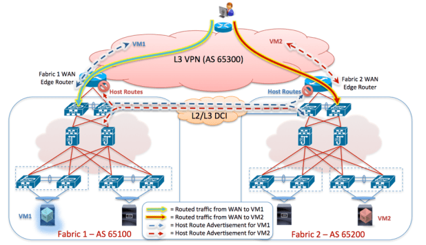 Figure 24 – Border Leaf Nodes advertising only Host Routes for Locally Connected Endpoints