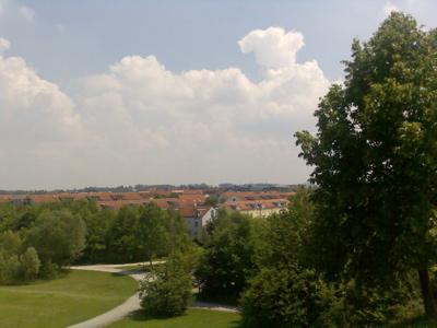 Die Aussicht vom Berg im Park in Poing