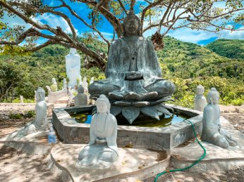 The Guru built these statues and the fountain