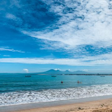 We can see Mount Batukaru from the Beach