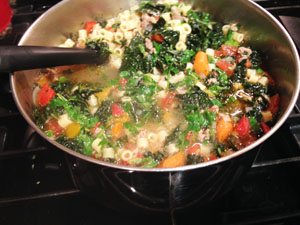 Tuscan soup in pot photoshop