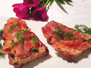 Irish Soda Bread with Chive Butter and Smoked Salmon garnished with Dill