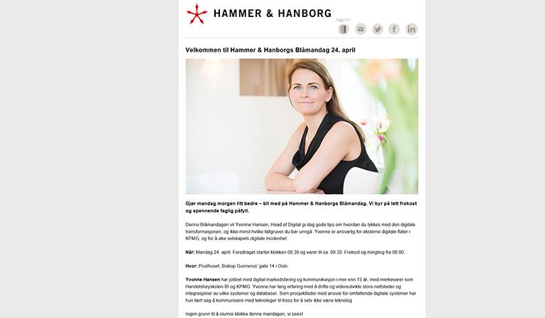 Informasjon om frokostseminar. Kilde: Hammer & Hanborg