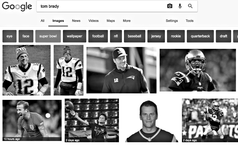 Screenshot fra Google, med Tom Brady