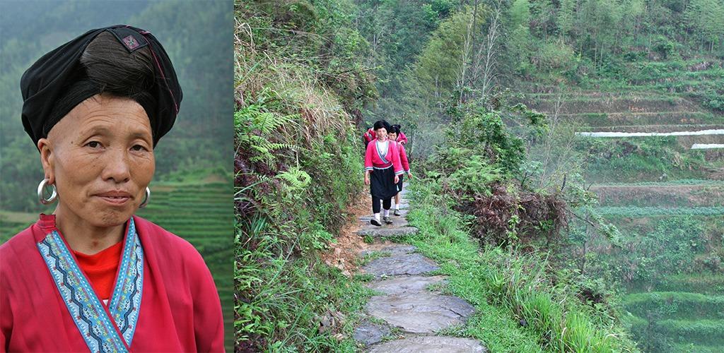 Ping-An Yao dames met lang haar