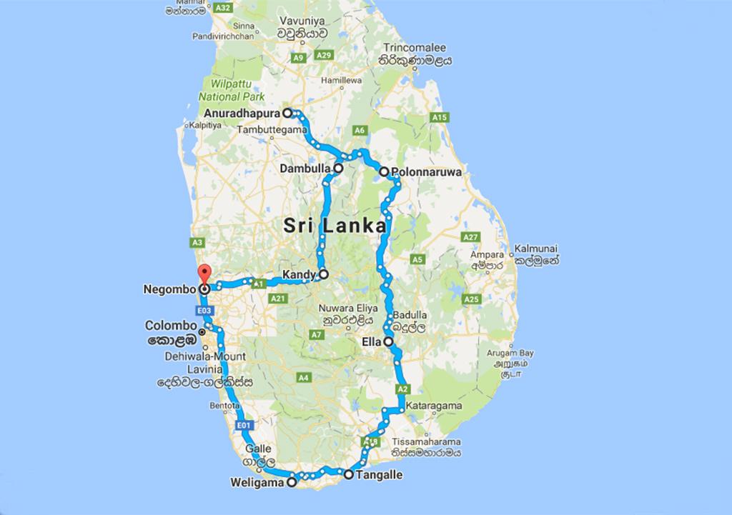 Sri Lanka route kaart