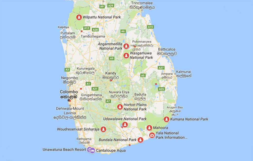 Sri Lanka safari kaart
