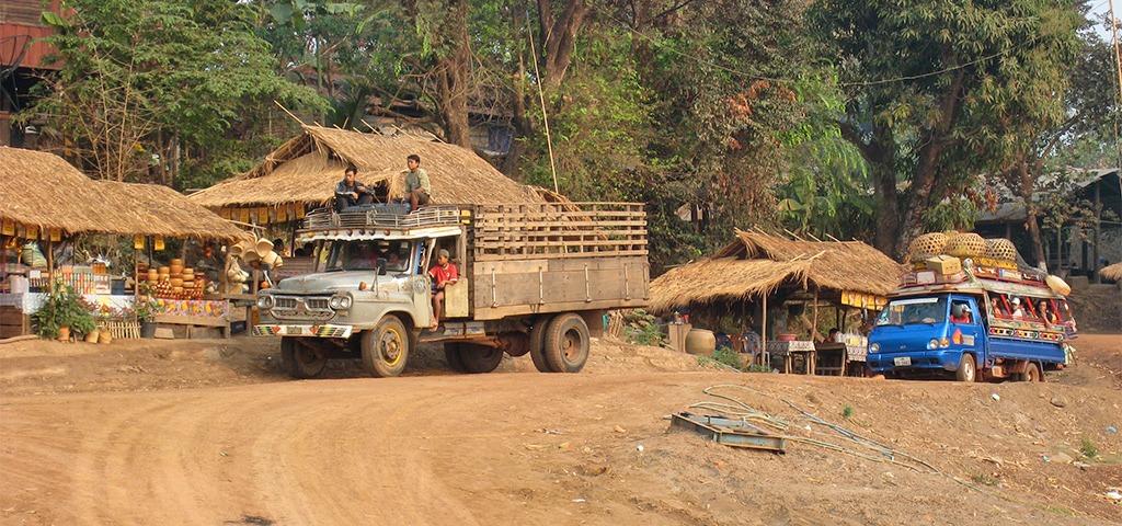 Het vervoer van Champasak naar Pakse