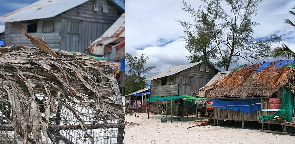 fotogenieke vissershuisjes buiten Sihanoukville