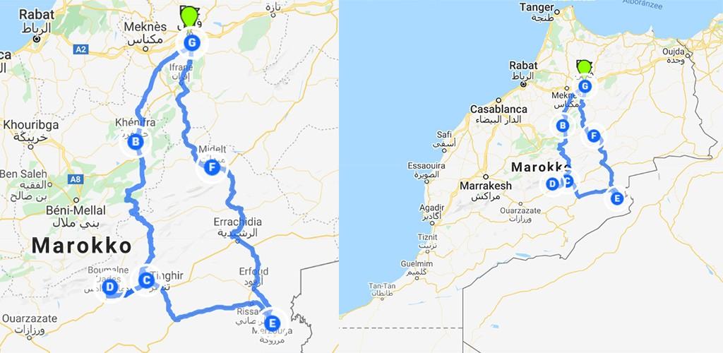 kaart route Zuid-Marokko vanuit Fez