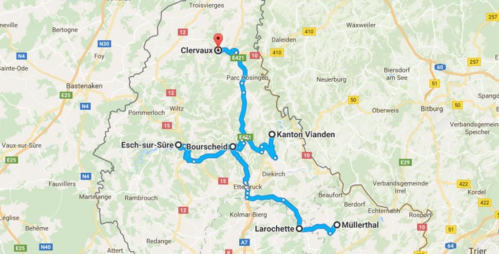 kaart vakantie Luxemburg - centrale accommodatie