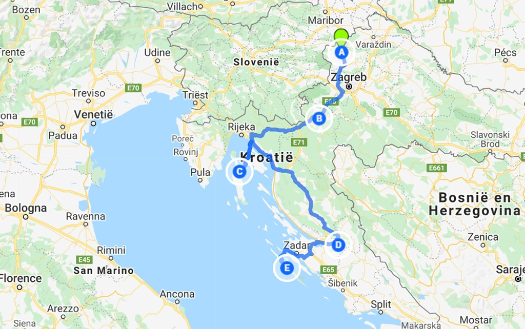 route Kroatië onontdekte plekjes kaart