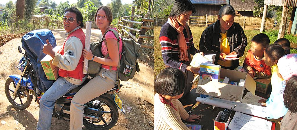 schoolspullen brengen in Noord-Thailand