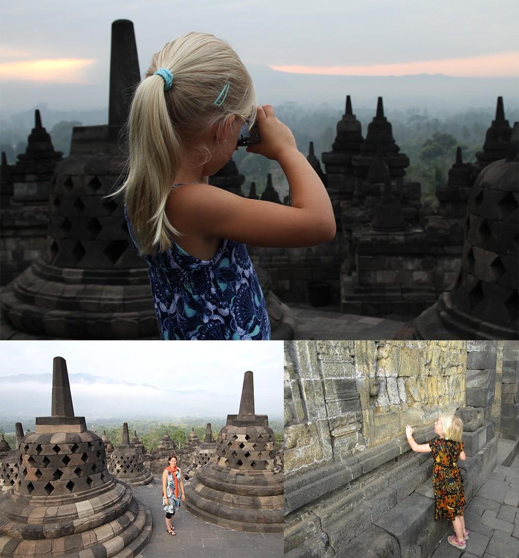 zonsopkomst Borobudur met gezin