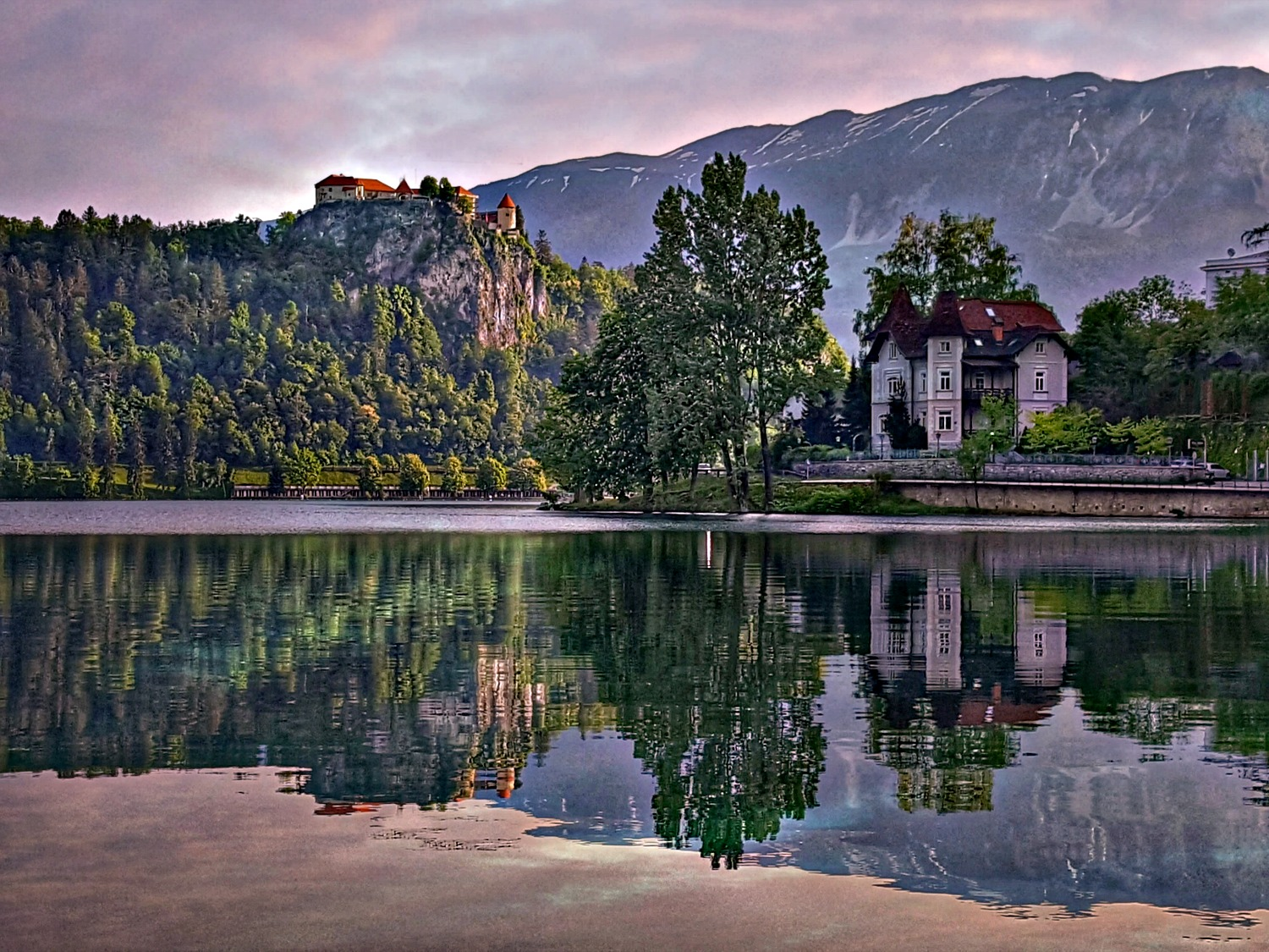 Lake Bled Castle and its reflection.