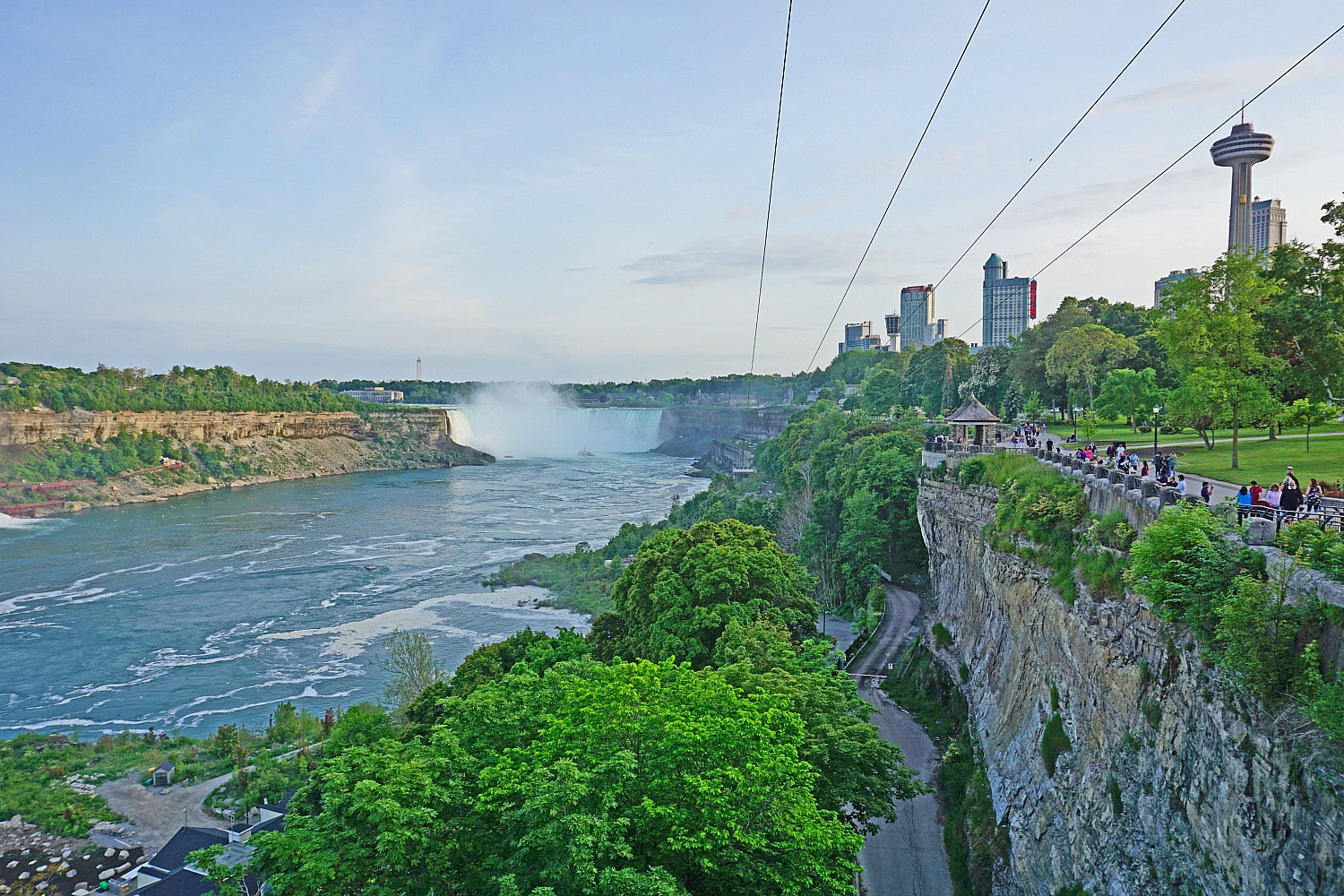 Zipline towards the falls in Niagara Falls Canada.