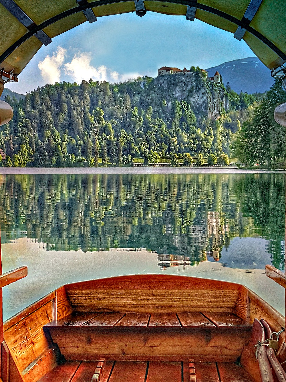 One day in Lake Bled Slovenia -view from the boat to the castle.