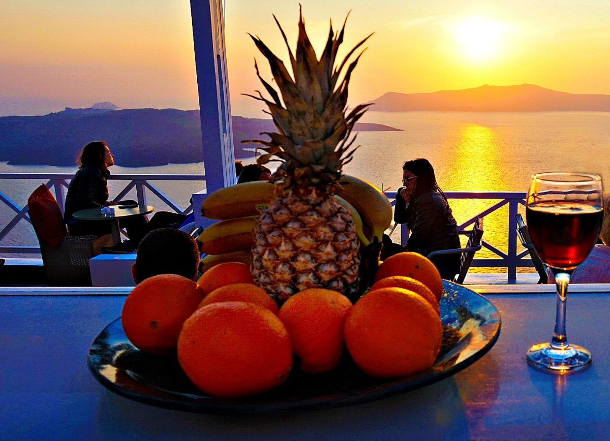 Thira Santorini - fruit and sunset.
