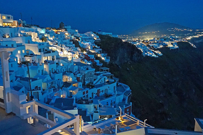 Night views of Imerovigli Santorini.
