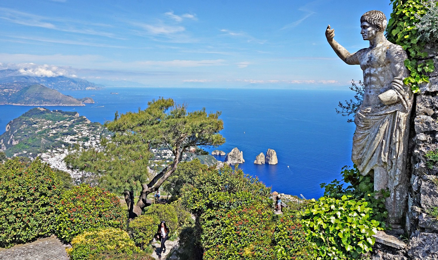 View from the top of Mount Solaro in Capri.