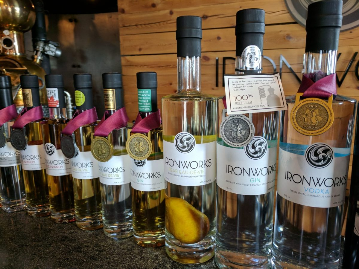 Bottles at Ironworks Distillery in Lunenburg Nova Scotia.