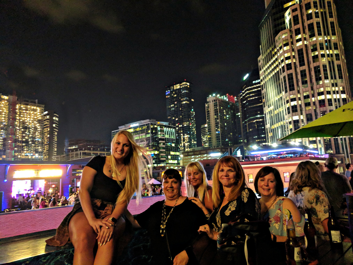 Girls at rooftop bar in Nashville.