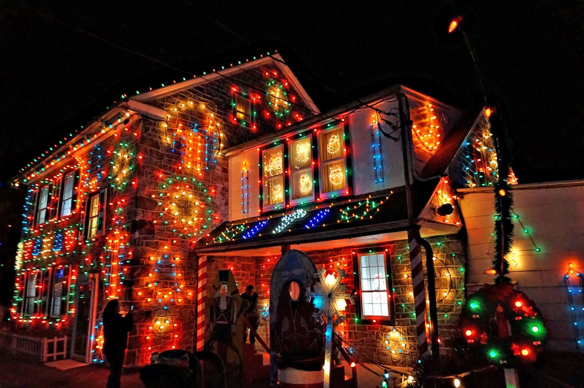 Old fashioned Christmas lights at Koziar's Christmas Village in Pennsylvania.