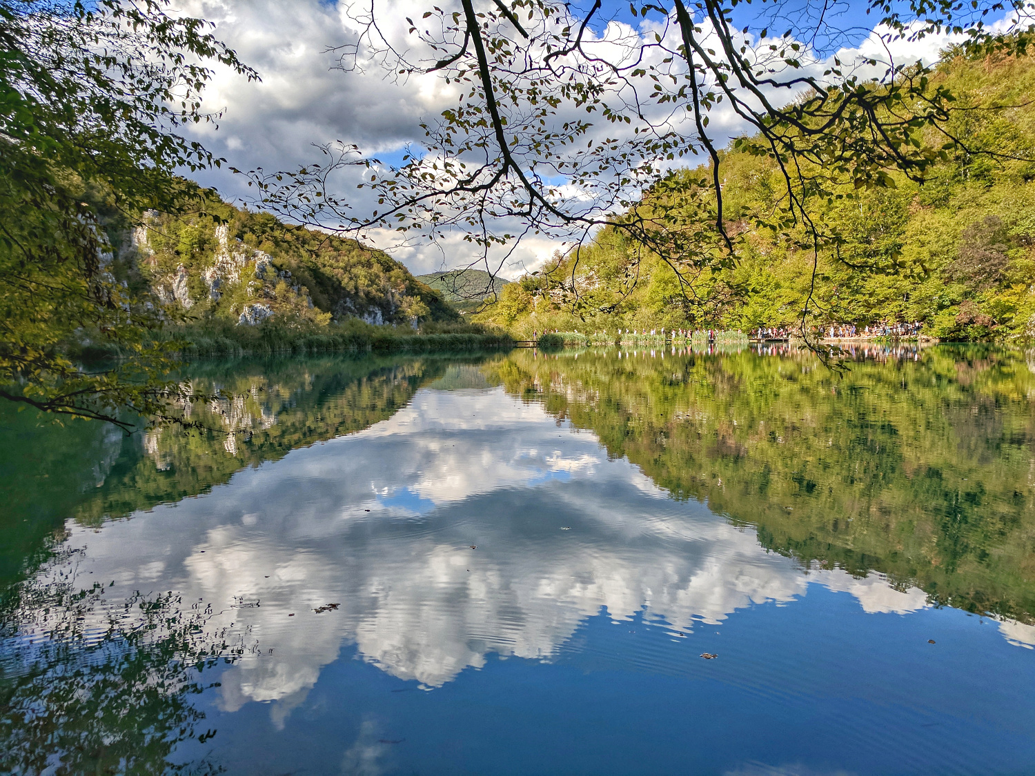 Plitvice Lakes, Europe's top natural attraction. Reflection of sky and woods at Plitvice Lakes.
