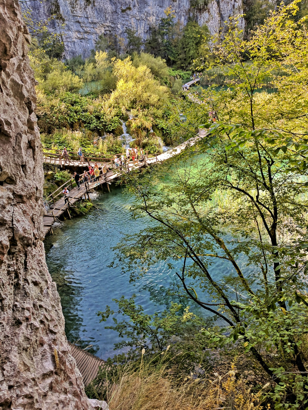Europe's top natural attraction, Plitvice Lakes, walking paths below.