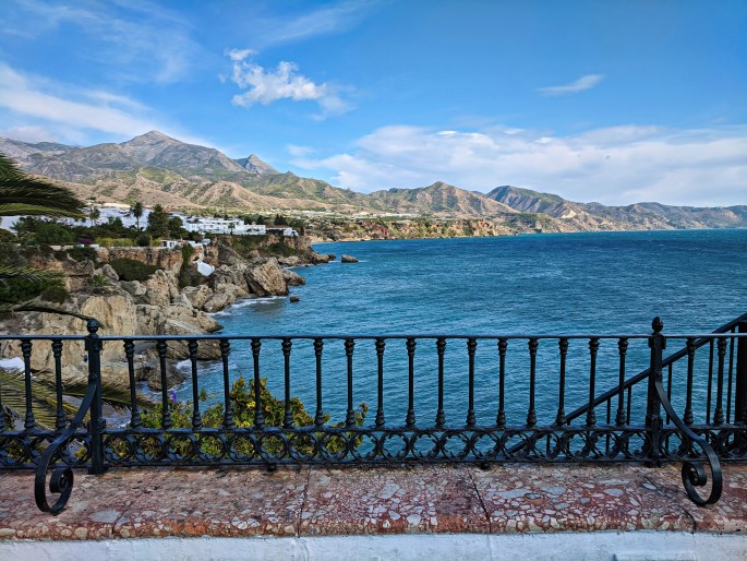 Holidays to Nerja Spain. View of the through the railing.