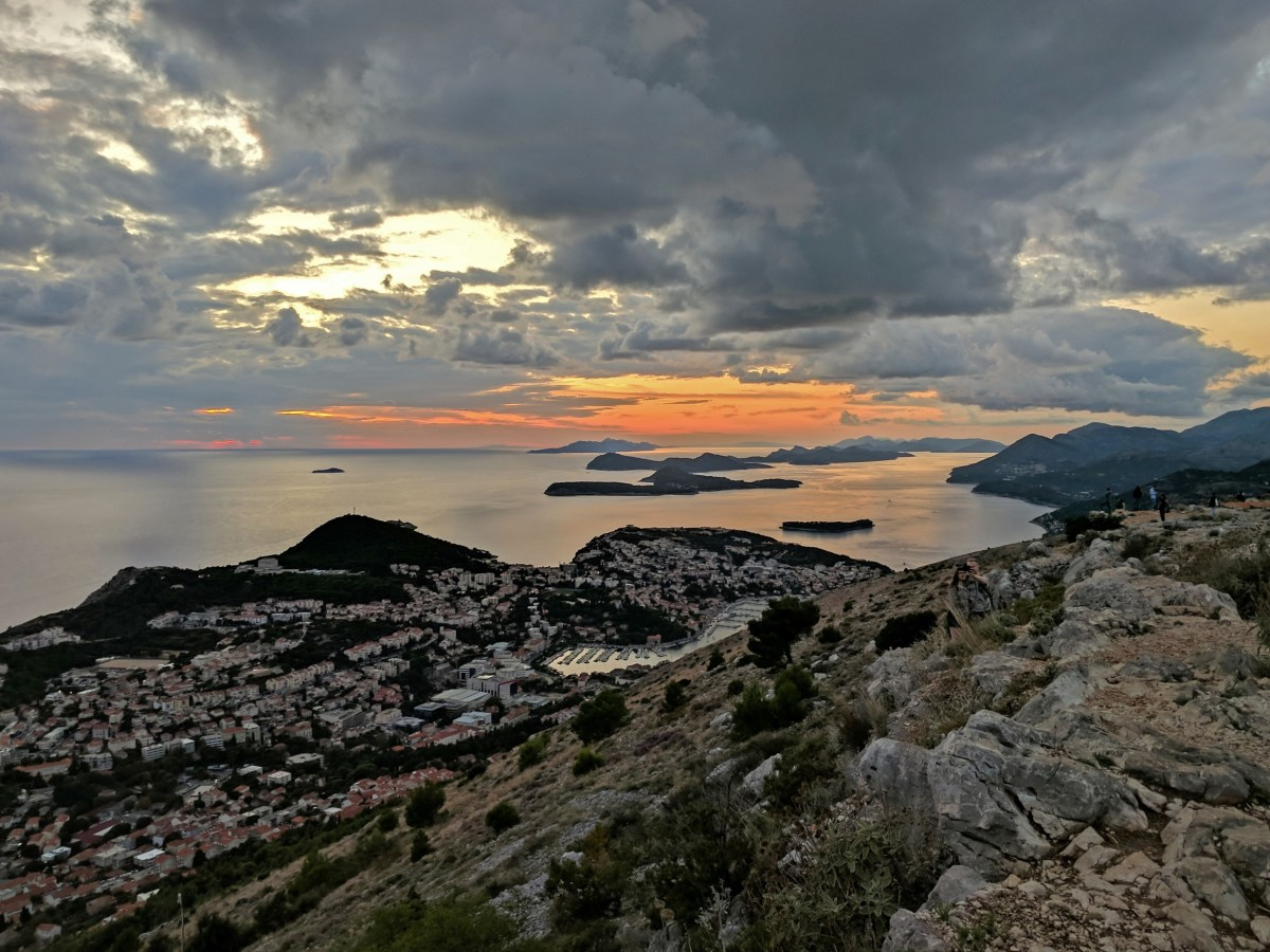 Croatia vacations. Sunset over Dubrovnik.
