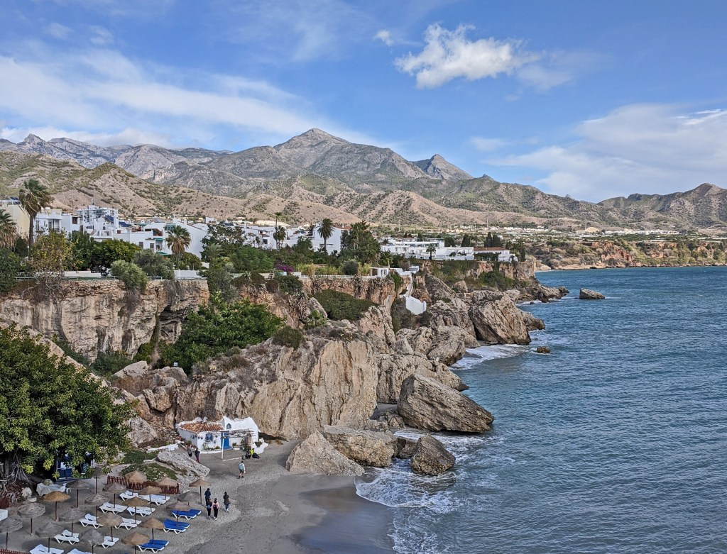 Holidays to Nerja Spain. Sunning cliffs and the beach.