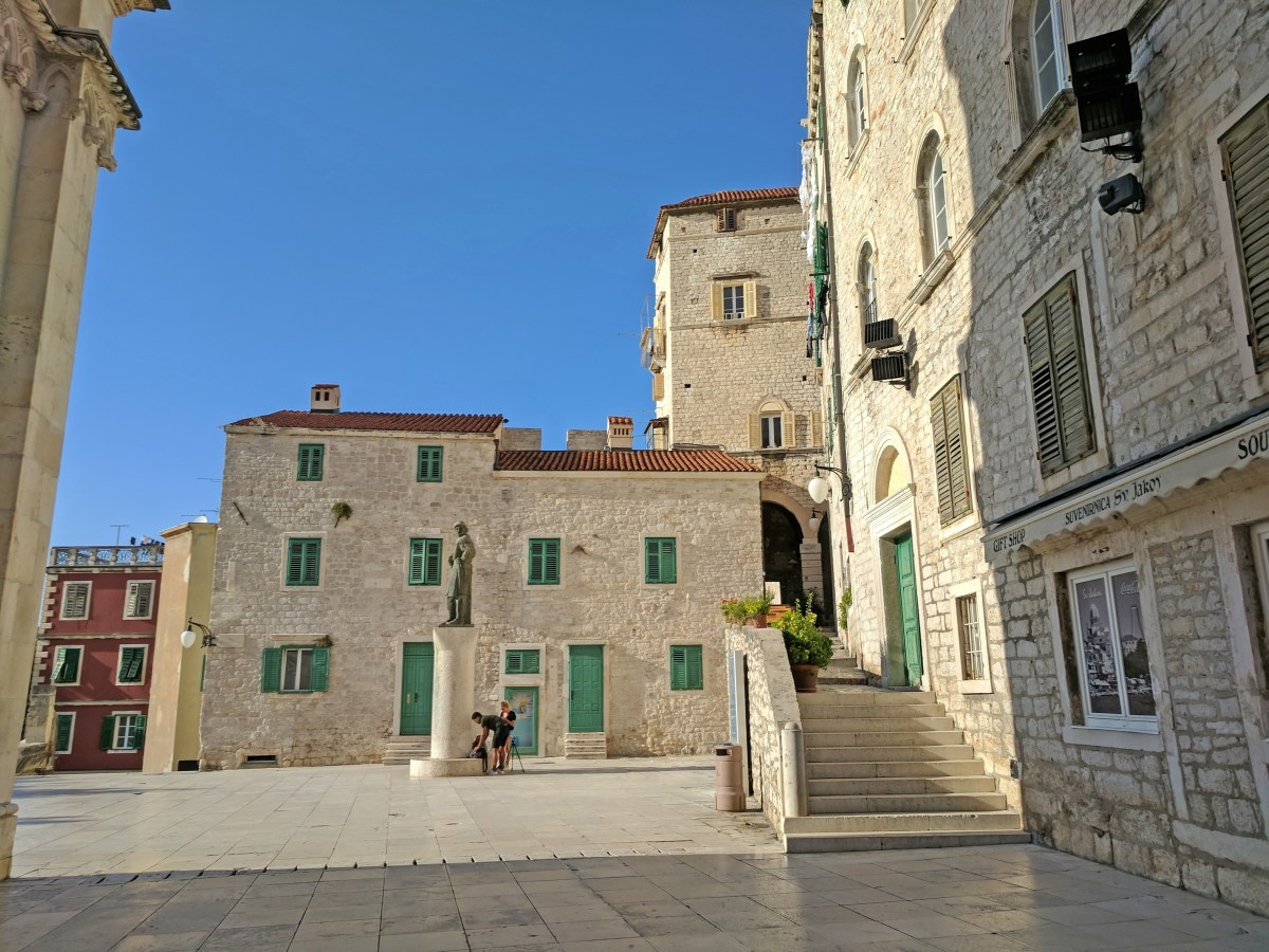 Croatia holidays. Two week itinerary. Stone plaza in Sibenik.