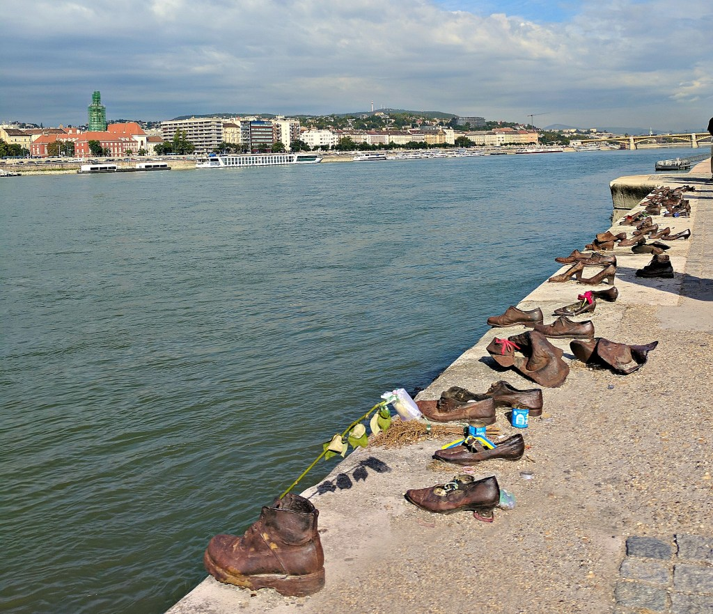 Budapest sights. Shoes on the Danube Bank Memorial