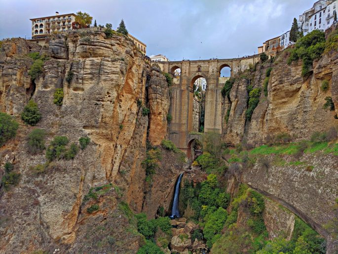 Puente Nuevo Ronda Spain as seen from a hiking trail.