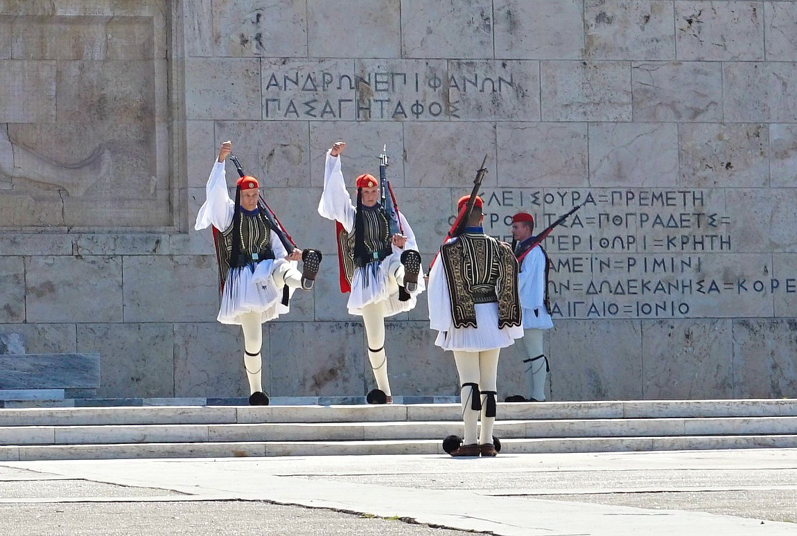 The Presidential Guards, Evzones, guard the Tomb of the Unknown Soldier in front of the Hellenic Parliament 24/7