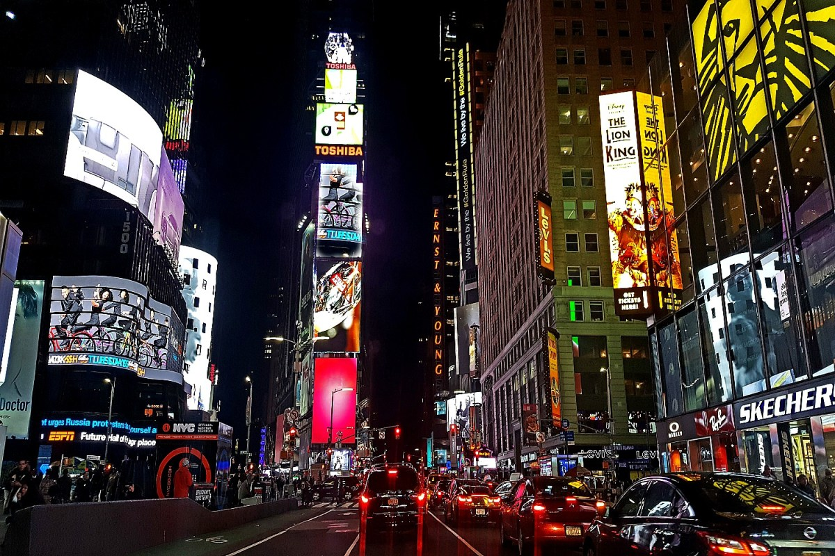 You will not find inexpensive accomodation at Time Square. How to visit New York on a budget.