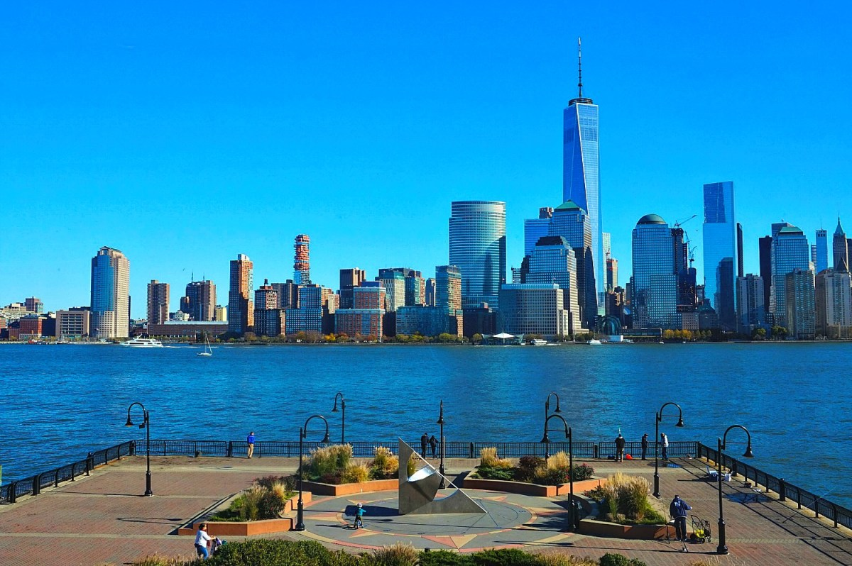 How to visit New York City on a budget. View of the skyline form Jersey City.