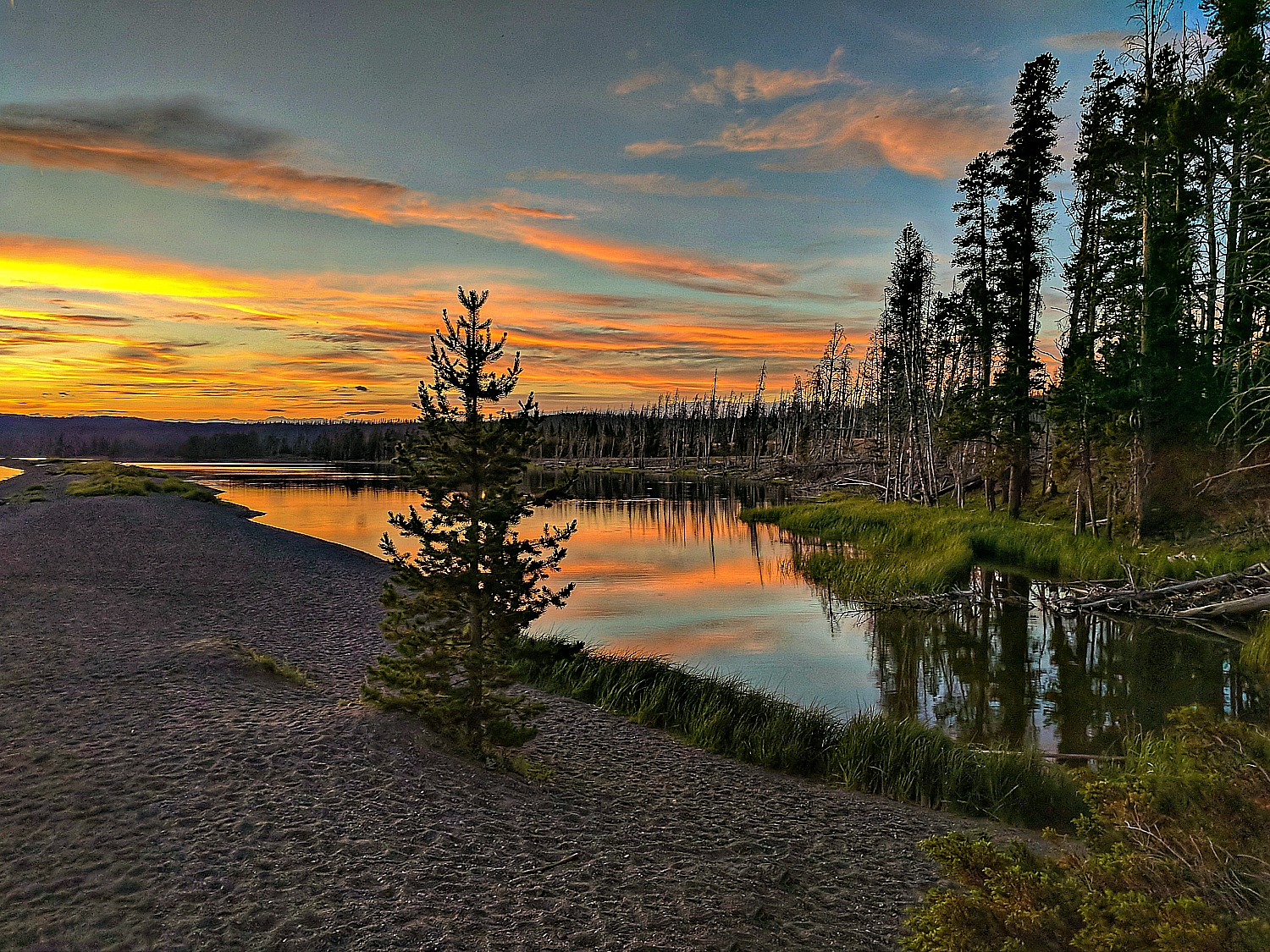 Sunset somewhere along the long at Yellowstone National Park..