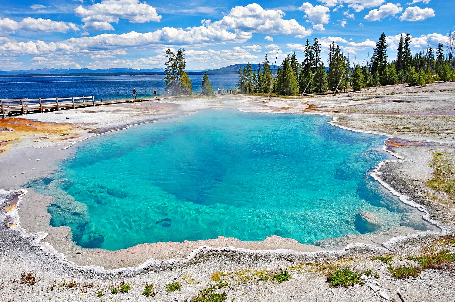 West Thumb Geyser Basin for some reason does not attract many crowds but it is stunningly beautiful.