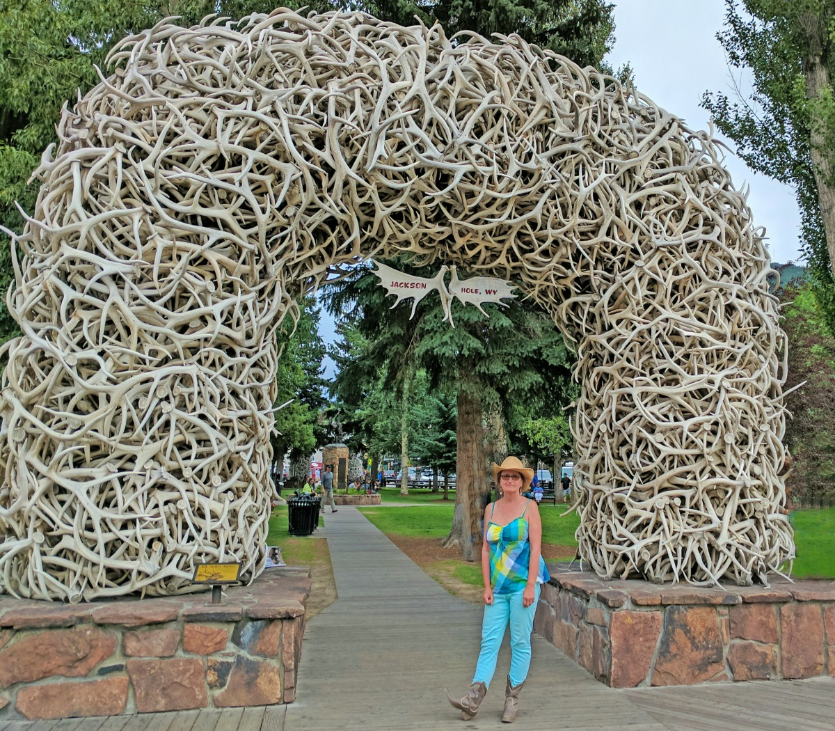 The main square in Jackson Hole, Wyoming.