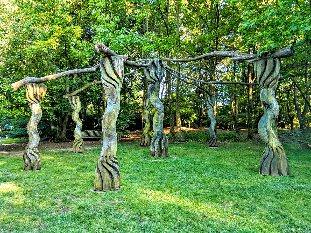 Wooden art in Grounds For Sculpture in Hamilton, New Jersey.