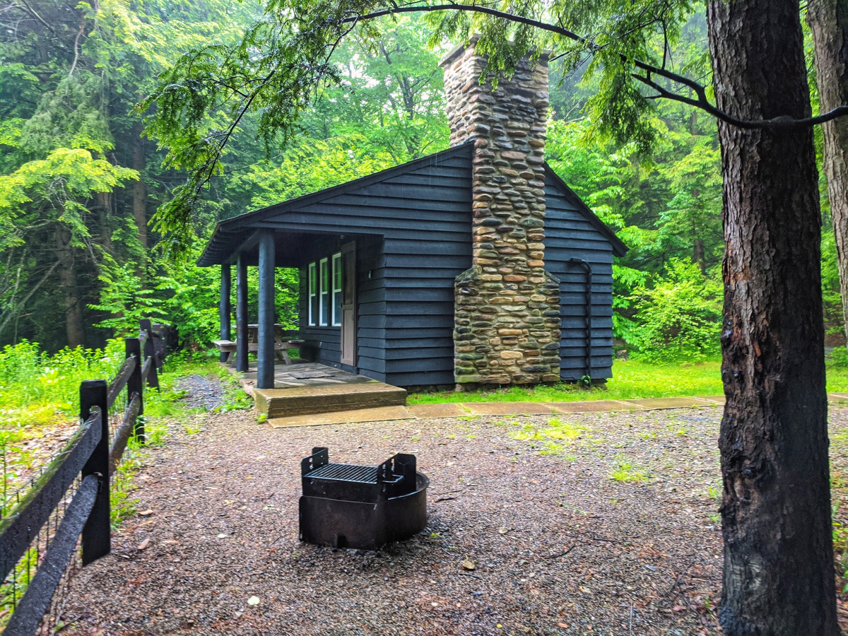 All rustic cabins at Worlds End State Park offer beautiful nature setting and lots of privacy.