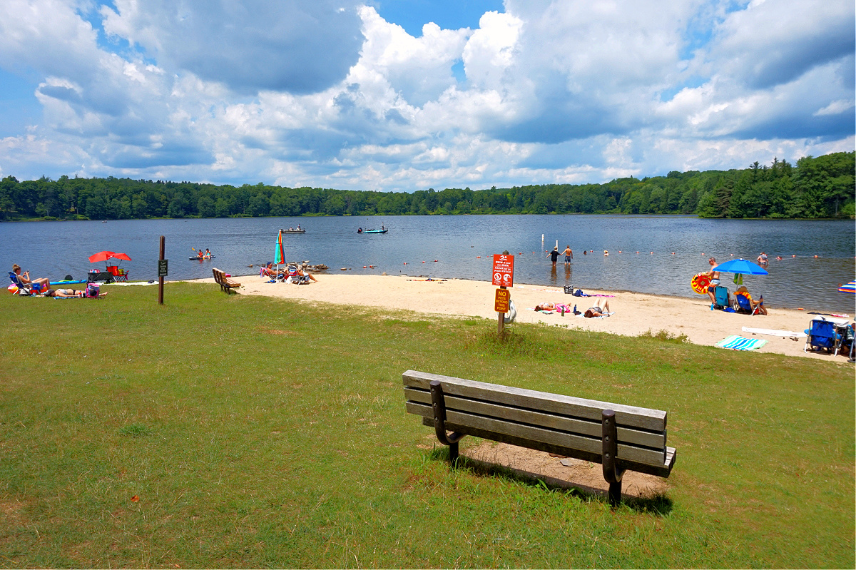 Things to do in Promised Land State Park. Sandy beach at Pickerel Point Campground.