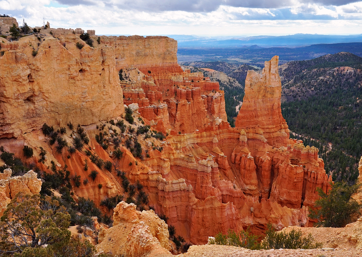Orange rock formations at Bryce Canyon National Park.