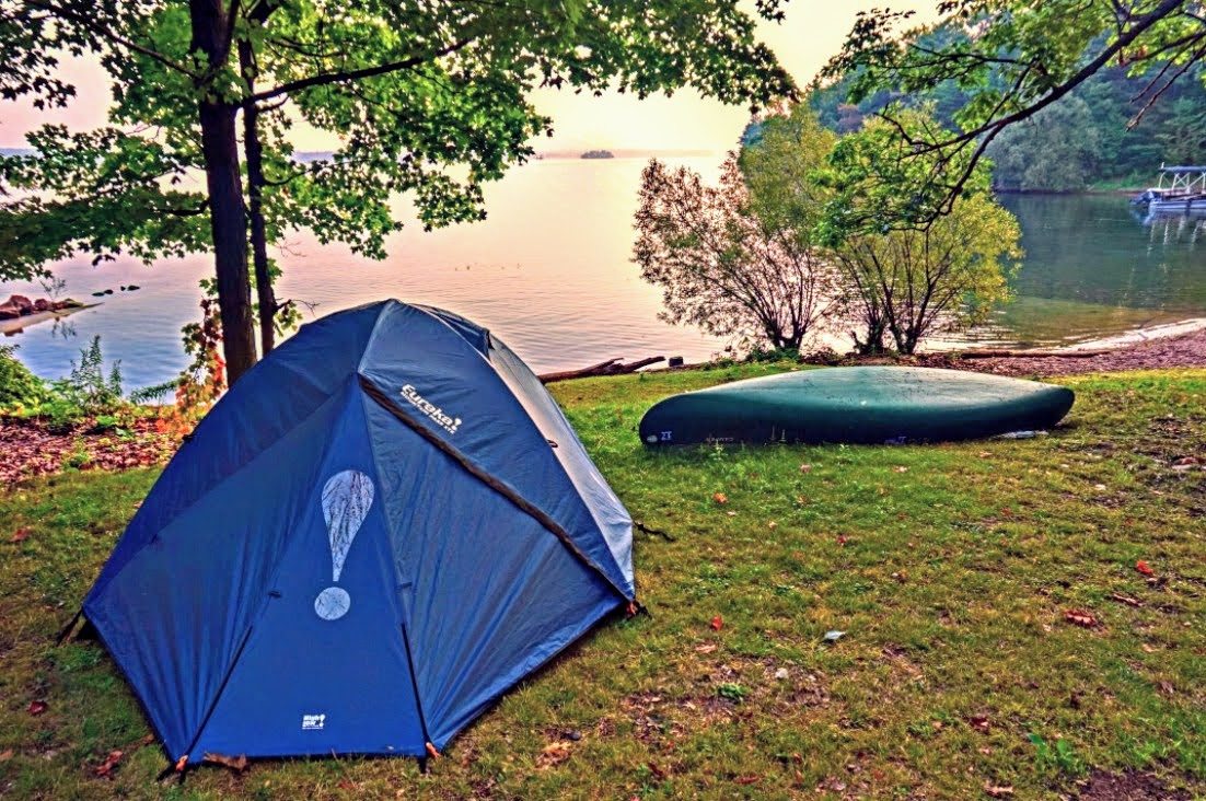 First time camping tips, Waterfront camping site.