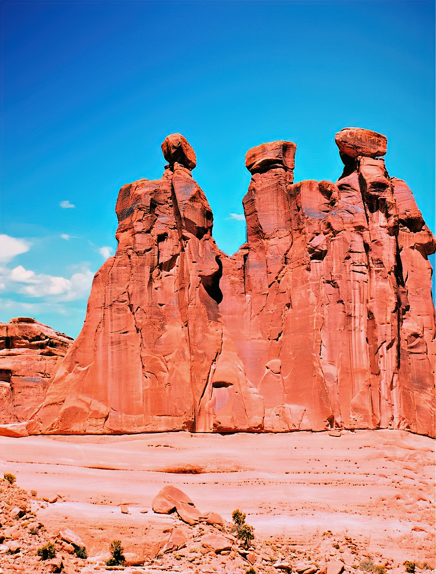 Three Gossips at Arches National Park do not care that everyone is watching!