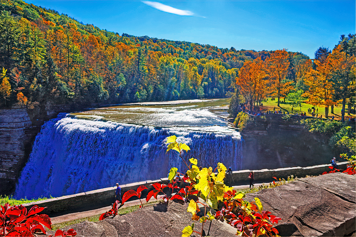 The paved walking trail in Letchworth State Park follows the gorge for 7 miles.